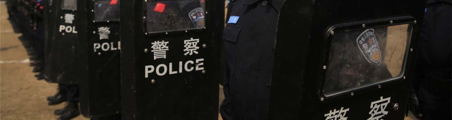 Chinesische-Polizisten-bei-einer-Uebung