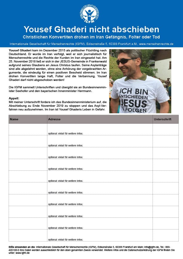 Zur Unterschriftenliste für Yousef Ghaderi