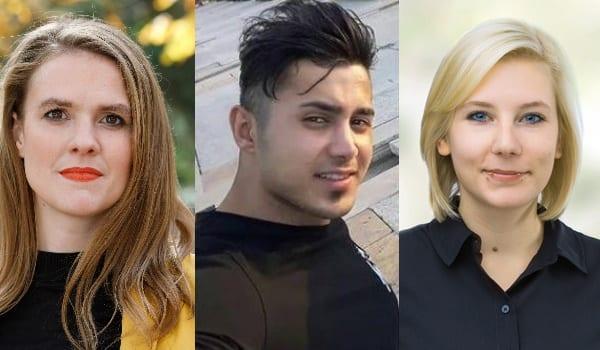 Der politische Gefangene Saeed Tamjidi und seine zwei Patinnen Terry Reintke und Imke Byl