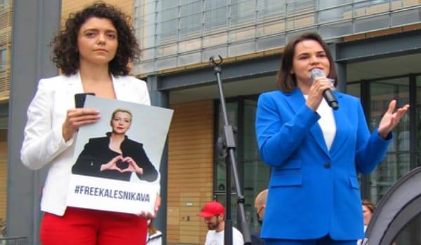 Tichanowskaja und Chomitsch, Berlin Belarus Demo