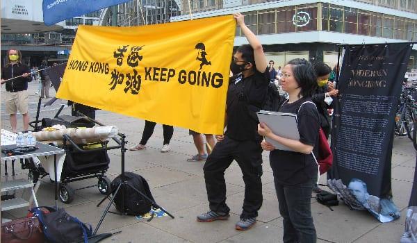 Demo für Hongkong in Berlin.